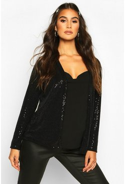 Womens Black Maternity Stretch Sequin Jacket