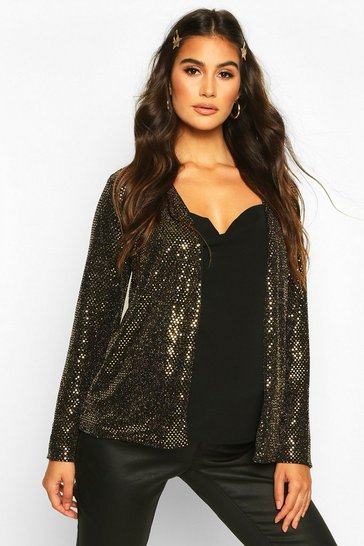 Womens Gold Maternity Stretch Sequin Jacket