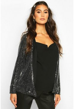 Silver Maternity Stretch Sequin Jacket