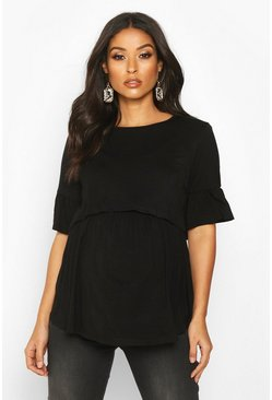 Womens Black Maternity Nursing Smock Top