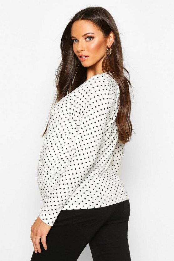 Maternity Polka Dot Wrap Nursing Top
