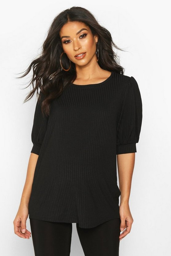 Womens Black Maternity Puff Sleeve Rib Tee
