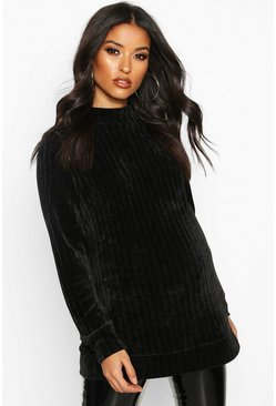 Womens Black Maternity Chenille Jumper