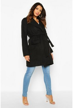 Womens Black Maternity Belted Wool Look Coat