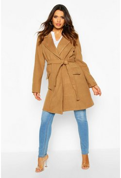 Camel Maternity Belted Wool Look Coat
