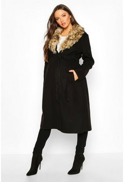 Womens Black Maternity Faux Fur Collar Belted Wool Look Coat