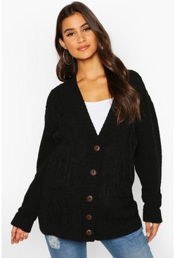 Maternity Cable Knit Cardigan, Black, MUJER