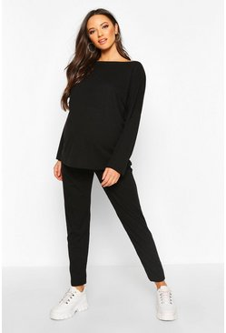 Womens Black Maternity Slash Knit Co-Ord Set