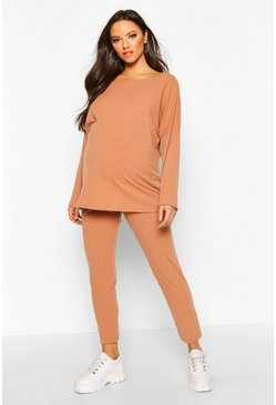 Camel Maternity Slash Knit Co-Ord Set