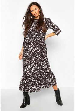 Maternity Polka Dot Ruffle Hem Midi Dress, Black, MUJER