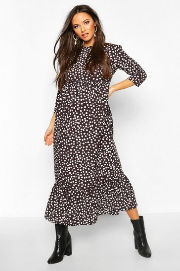 Womens Black Maternity Polka Dot Ruffle Hem Midi Dress