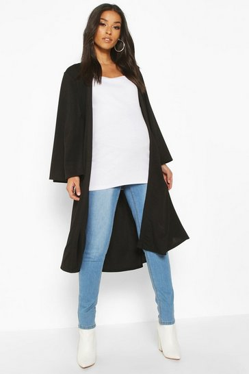 Womens Black Maternity Belted Duster Jacket