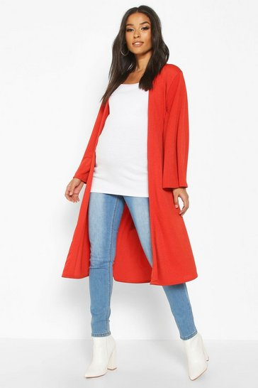 Womens Rust Maternity Belted Duster Jacket