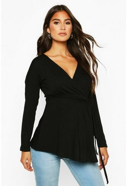 Maternity Jumbo Rib Wrap Top, Black
