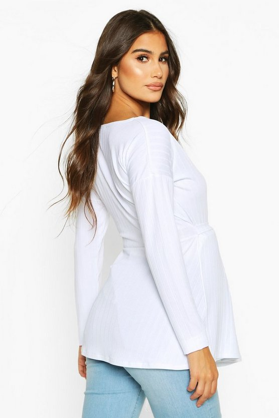 Maternity Jumbo Rib Wrap Top