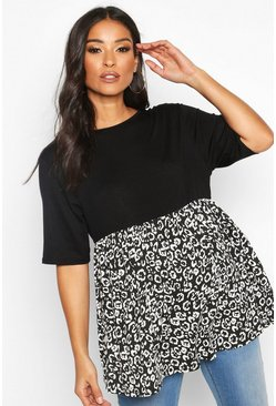 Womens Black Maternity Contrast Leopard Smock Top