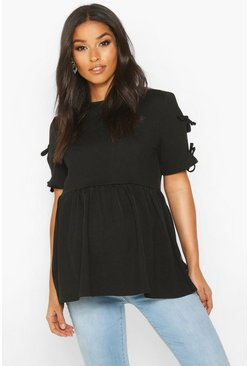 Womens Black Maternity Tie Sleeve Smock Top