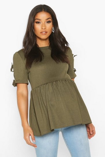 Womens Khaki Maternity Tie Sleeve Smock Top