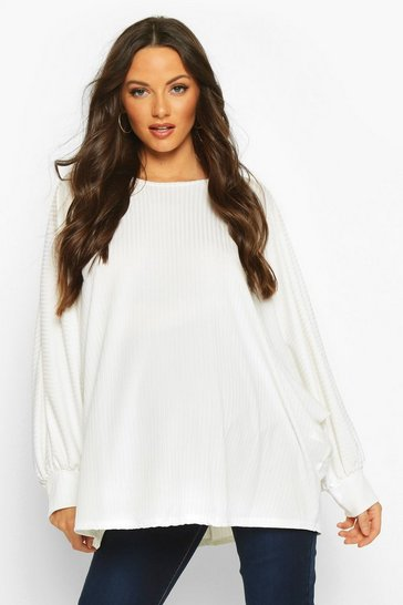 Womens Cream Maternity Batwing Rib Knit Jumper