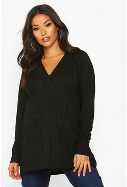 Maternity Rib Knit Tunic Jumper, Black, MUJER