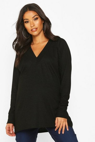 Womens Black Maternity Rib Knit Tunic Jumper
