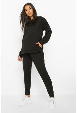 Maternity Crew Neck Side Split Lounge set, Black, MUJER