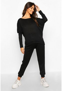 Womens Black Maternity Slash Neck Batwing Lounge Set
