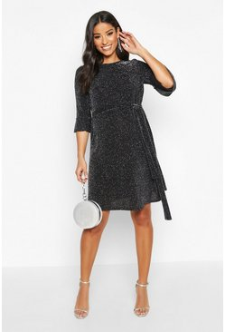 Silver Maternity Ruffle Sleeve Shimmer Smock Dress