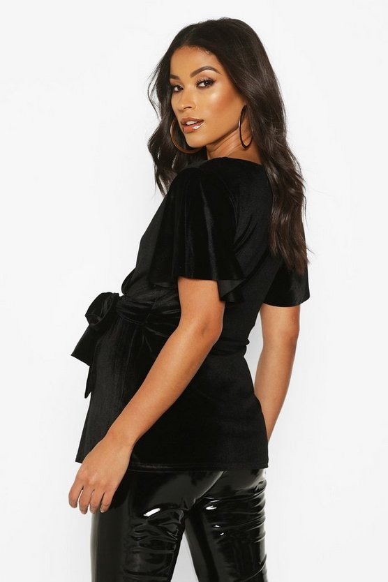 Maternity Velvet Wrap Top