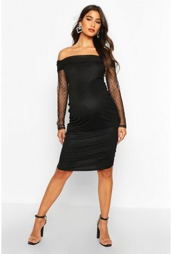 Womens Black Maternity Bardot Dobby Mesh Bodycon Dress