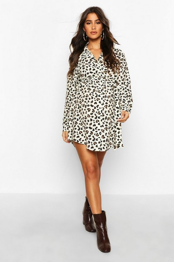 Womens Cream Maternity Animal Print Shirt Dress