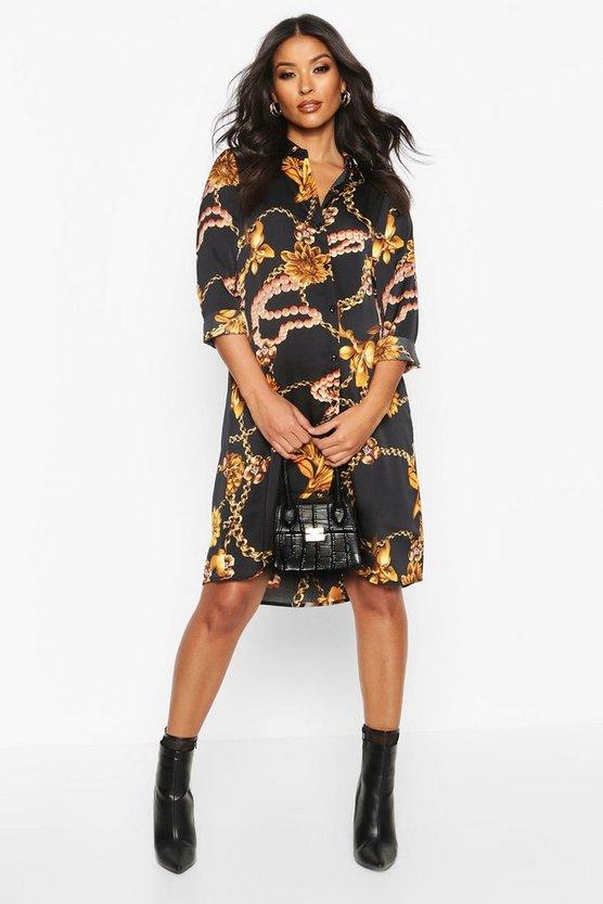 Maternity Chain Print Shirt Dress