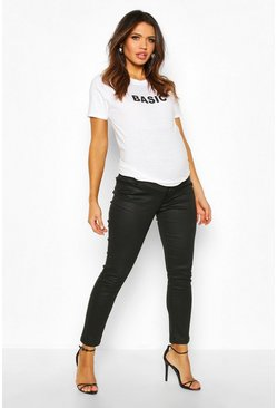 Womens Black Maternity Coated Skinny Jean