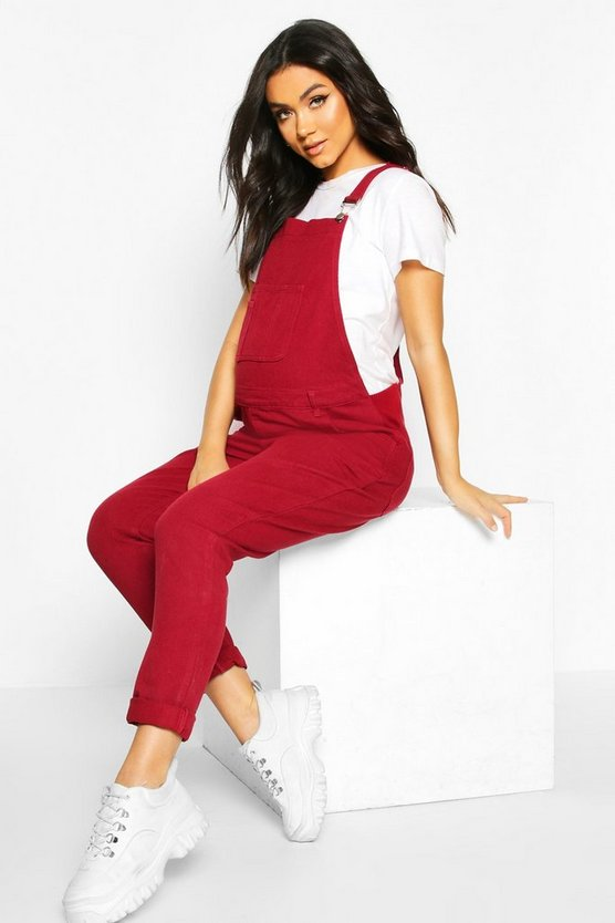 Womens Wine Maternity Denim Dungaree