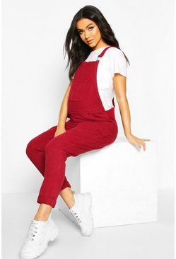 Wine Maternity Denim Overall