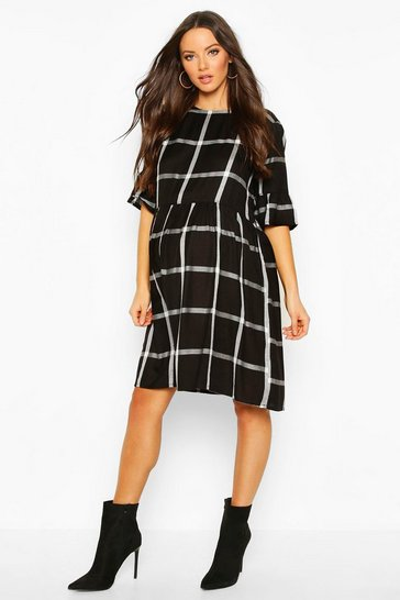 Womens Black Maternity Woven Check Smock Dress