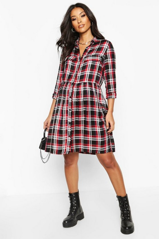 Red Maternity Check Woven Smock Shirt Dress