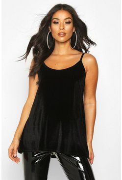 Womens Black Maternity Velvet Swing Cami Top