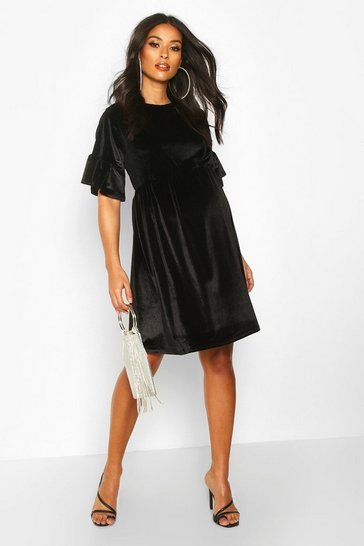 Womens Black Maternity Velvet Smock Dress