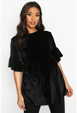 Womens Black Maternity Velvet Smock Top