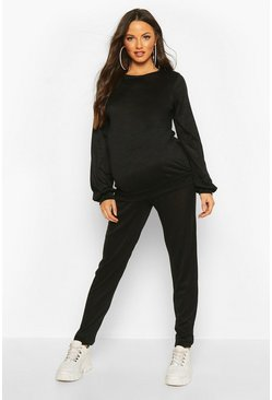Womens Black Maternity Crew Lounge Set