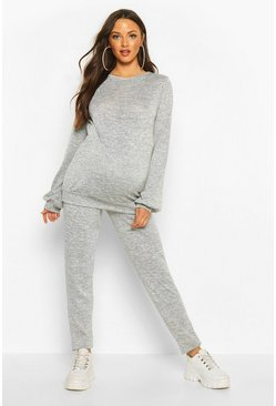 Grey Maternity Crew Lounge Set