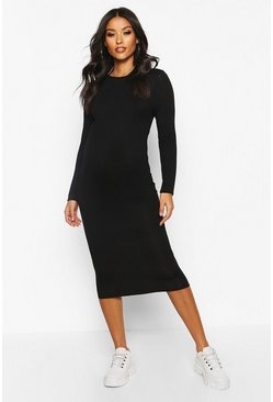 Womens Black Maternity Basic Bodycon Dress