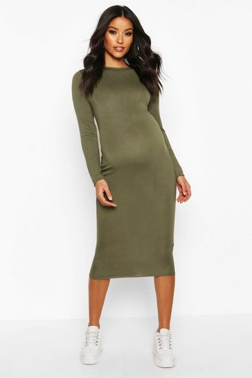 Womens Khaki Maternity Basic Bodycon Dress