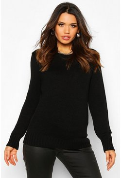 Black Maternity Crew Neck Jumper