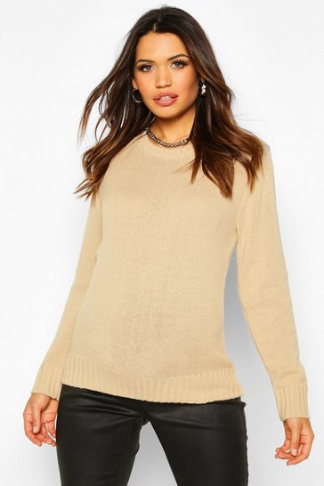 Womens Stone Maternity Crew Neck Jumper