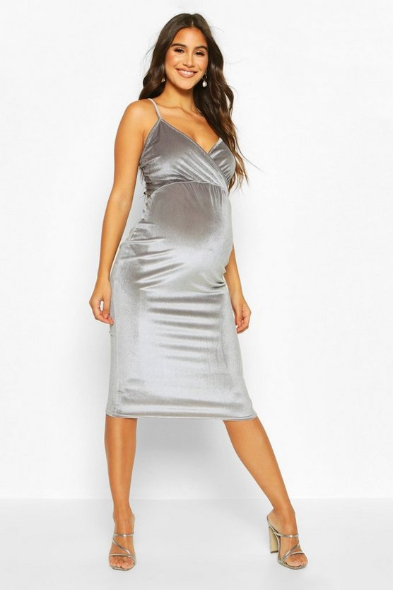 Silver grey Maternity Wrap Front V-Neck Velvet Midi Dress