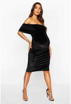 Womens Black Maternity Double Layer Velvet Bodycon Dress