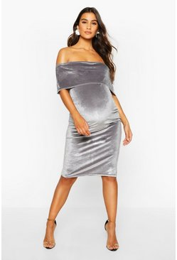 Silver grey Maternity Double Layer Velvet Bodycon Dress