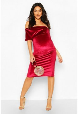 Wine Maternity Double Layer Velvet Bodycon Dress